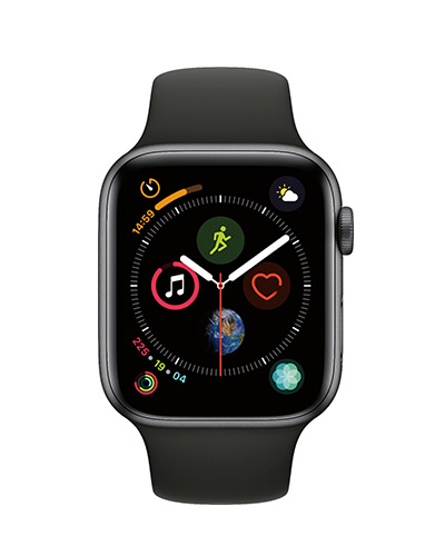AppleWatch Series4 Gold Aluminium Case 44mm with black Sport Band (Black)
